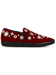 Toga Pulla Embellished Slip On Sneakers Red