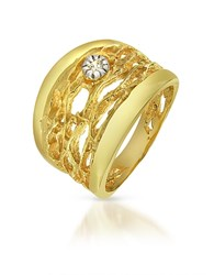 Orlando Orlandini Diamond Open Work 18K Yellow Gold Band Ring