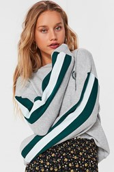 Urban Outfitters Uo Embroidered Globe Crest Sweatshirt Grey