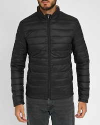Ikks Black Down Jacket With Forest Printed Lining