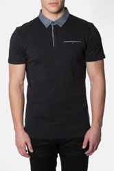 7 Diamonds Collider Trim Fit Contrast Trim Interlock Knit Polo Black
