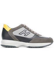 Hogan Lace Up Sneakers Men Leather Suede Polyester Rubber 10 Grey