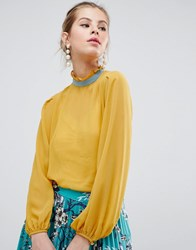 Traffic People High Neck Blouse With Contrast Piping Yellow