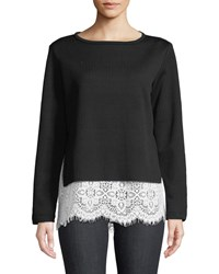 Finley Wendy Round Neck Long Sleeve Rib Knit Sweater W Lace Hem Black