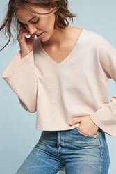 Anthropologie Dyed Bell Sleeve Sweatshirt Pink