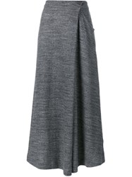 1205 Cotton Asymmetric Wrap Skirt Grey