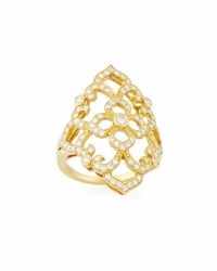 Penny Preville 18K Yellow Gold Diamond Lace Ring Size 6