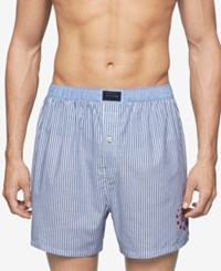Tommy Hilfiger Men's Striped Woven Boxers Navy Ice