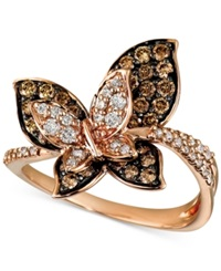 Le Vian Chocolate And White Diamond Butterfly Ring 7 8 Ct. T.W. In 14K Gold