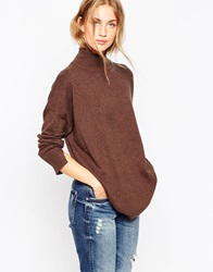 Asos Tunic With High Neck In Cashmere Blend Chocolate