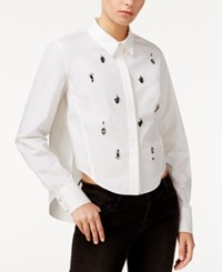 Rachel Roy Embellished High Low Shirt Only At Macy's White