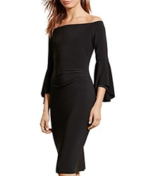 Ralph Lauren Off The Shoulder Bell Sleeve Dress Black