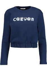 Carven Embroidered Printed Cotton Sweatshirt Midnight Blue
