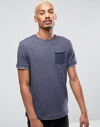Esprit T Shirt With Crew Neck And Contrast Pocket Navy 400