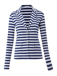 Oui Long Sleeved Striped Jersey Blazer Navy And White