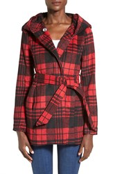Coffee Shop Print Hooded Tie Front Coat Red Buffalo