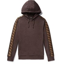 Fendi Logo Trimmed Cotton Wool Silk And Cashmere Blend Hoodie Brown