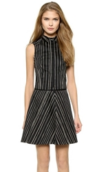 Alice Olivia Lea Fitted Sleeveless Cropped Blouse Chalkboard Stripe