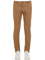Dsquared 16Cm Tidy Stretch Cotton Twill Pants Camel