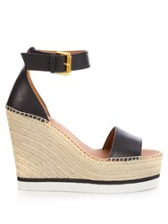 See By Chloe Leather Espadrille Wedge Sandals Black