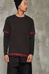 Forever 21 Plaid Trim Underlay Tee Black Red
