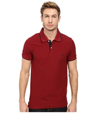 Lindbergh Contrast Button Polo Piqu Short Sleeve French Red Navy Men's Short Sleeve Pullover
