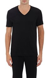 Theory Men's Gaskell Cotton V Neck T Shirt Black