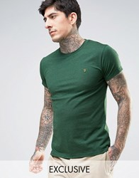 Farah Twisted Yarn Marl T Shirt Exclusive In Green Green