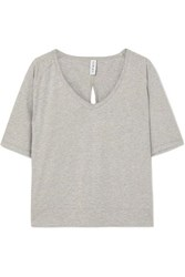Varley Marr Cutout Cotton Jersey T Shirt Gray