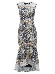 Peter Pilotto Floral Embroidered Chantilly Lace Dress Navy Gold