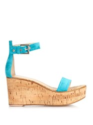 Gianvito Rossi Ankle Strap Suede Wedge Sandals
