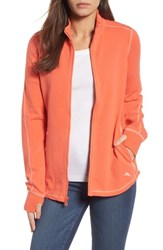 Tommy Bahama Women's Jen And Terry Full Zip Top Burnt Coral French Creme