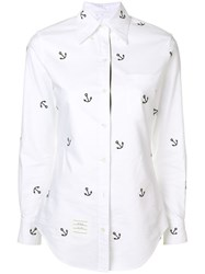 Thom Browne Anchor Embroidery Oxford Shirt White