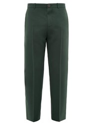 Balenciaga Cropped Twill Trousers Green