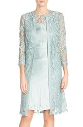 Women's Adrianna Papell Embroidered Lace Illusion Yoke Sheath Dress And Topper Icy Mint