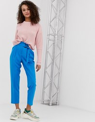 Miss Selfridge Paperbag Trousers With Belt In Blue