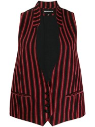 Ann Demeulemeester Striped Sleeveless Blazer Red