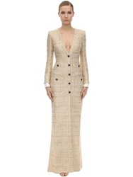 Alessandra Rich Long V Neck Tweed Dress W Micro Sequins Gold