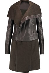 Rick Owens Leather And Wool Biker Jacket Gray