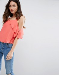 Asos Thick Strap Cami With Tie Cold Shoulder Coral Pink