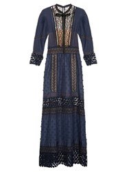 Self Portrait Spring Lace Long Sleeved Pleated Dress Navy Multi