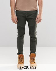 Liquor And Poker Super Skinny Jeans Biker Khaki 6 Khaki Green