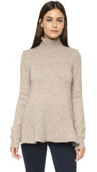 Derek Lam Long Sleeve Turtleneck With Peplum Camel