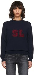 Saint Laurent Navy Sl Crewneck Sweater