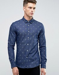 Asos Skinny Denim Shirt With Anchor Print In Navy Navy