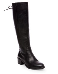 Steve Madden Leather Lace Up Knee High Boots Black