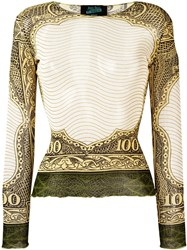 Jean Paul Gaultier Vintage 100 Dollar Bill Print Top Nude And Neutrals
