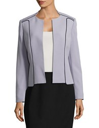 Nipon Boutique Textured Trim Accented Jacket Silver