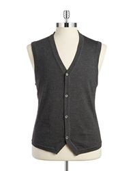 Black Brown Merino Extrafine Wool Vest Charcoal Heather