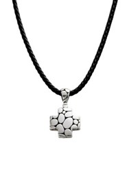 John Hardy Kali Cross Necklace Silver Black